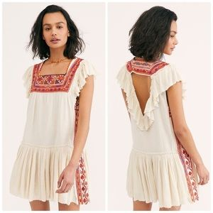 NWT Free People Day Glow Embroidered Mini Dress